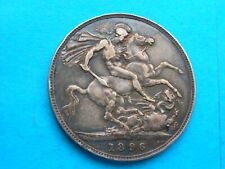 Victoria Silver Crown 1896 nice coin heavily toned