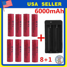 8x 18650 4.2V Li-ion 6000mAh Red Rechargeable Battery+ GTL Charger USA seller MG