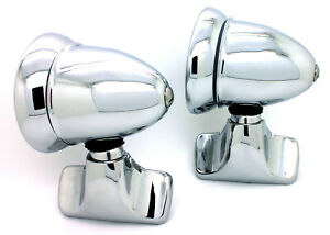 NEW Talbot Classic Style Chrome Bullet Door Mount Side View Mirrors Vintage SET