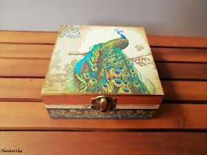Peacock Jewelry box, Wooden keepsake box, Peacocks decor, Memory handmade box