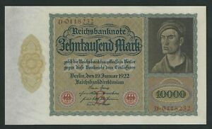 GERMANY 10.000 10000 MARK 1922 P-70   LARGE NOTE   UNC