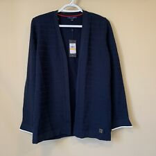 Tommy Hilfiger Women's Size S Textured Cozy Open-Front Cardigan NWT Navy Blue
