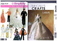 "McCalls M4740 Simplicity 4754 Barbie 11 1/2"" Doll Dress Pattern s Retired Uncut"