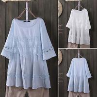 Women Round Neck Lace Crochet Shirt Tops Oversize Loose Blouse Jumper Plus Size