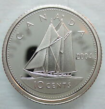 2004 CANADA 10 CENTS PROOF SILVER DIME HEAVY CAMEO COIN