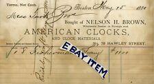 1880 Nelson H. Brown AMERICAN CLOCKS Boston Massachusetts BILLHEAD Hawley Street