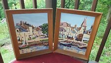 Vintage Painting by Numbers Nautical Scenery Set of Two Sailboats Multi-Color