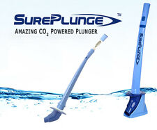 SurePlunge automatic toilet plunger. Amazing co2 power. Easy as 1-2-3.