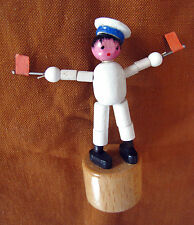 VERY RARE Vintage wood Push Puppet Puppe SAILOR AIRCRAFT CARRIER made in Italy