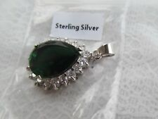 and crystal rhinestone pendant Sterling Silver emerald colored