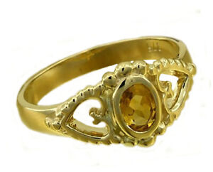 R144 Genuine 9ct or 18K Solid Gold Natural Citrine  Ring Friendship Love Hearts