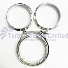 """2.5"""" Heavy Duty V Band Set Turbo Exhaust Downpipe Flange & Clamp Stainless"""