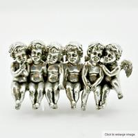 6 Silver Cherub Angels Sitting On a Bench 49cm Ornament Home Decor
