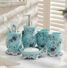 5 PCS Resin Bath Accessory Set Soap Dispenser Tumbler Toothbrush Holder Blue