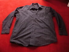 "Mens black smart thin stripe long sleeve shirt WORN ONCE size 16.5"" collar 42"