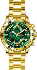 Invicta Men's S1 Rally Chrono 100m Gold Plated S. Steel Green Dial Watch 26096
