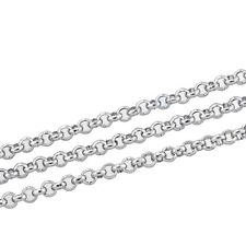 "10M Silver Tone Stainless Steel Link-Opened Chain For Necklace 2.5mm(1/8"")"