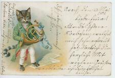 AK Katze, Hornist, Kater, Litho 1901, Esslingen/Urach