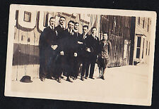 Vintage Antique Photograph Men in Suits Lined Up Against Old Time Building