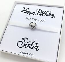 Sterling Silver Sister Heart Cz Charm Happy Birthday Card Gift Boxed