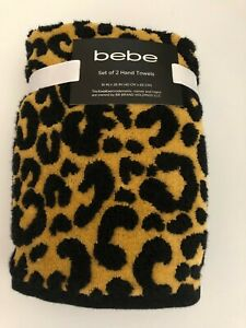 Bebe Set of 2 Leopard Print Fluffy Hand Towels for the Bath Cotton 16 x 26