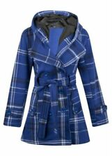 Womens Hood Button Coat Check Ladies Jacket Fleece Belted Hooded Size UK8-14