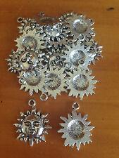 Antique Silver Sun charms / pendants x 15