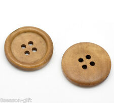 """50PCs Light Coffee 4 Holes Round Wood Sewing Buttons 25mm(1"""")Dia."""