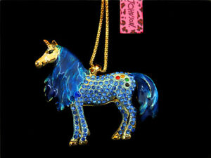 Fashion Blue Crystal Enamel Unicorn Horse Pendant Betsey Johnson Necklace Gift