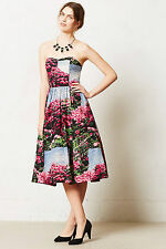 Anthropologie Floral Cocktail Dress Summer Evening Wedding Party Tracy Reese, 0