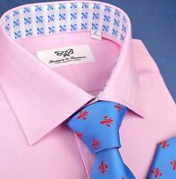 Pink Herringbone Twill Formal Business Dress B2B Shirts Sydney Fashion Collar GQ