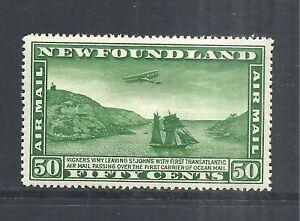 NEWFOUNDLAND SCOTT C7 MH VF - 1931 50c GREEN AIRMAIL ISSUE   CAT $35.00