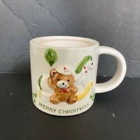 Vintage Childs Christmas Mug Cup Teddy Bear Japan Holiday Small 80s