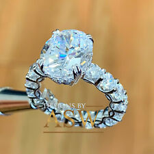 Cut Moissanite Engagement Ring Eternity 5.00 14K Solid White Gold Oval And Round
