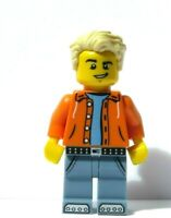 Lego Boy Minifigure Figure Blonde Light Tan Hair Orange Hoody Sand Blue Jeans