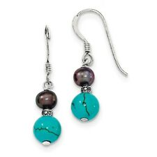 FW BLACK PEARL AND TURQUOISE DANGLE EARRINGS SOLID .925 STERLING SILVER