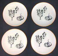 "Rae Dunn Boss Turkey Designer Collection Magenta 6"" Plates Set of 4 2018"