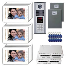 """Home Security Door Access Video Intercom System Kit with (12) 7"""" Color Monitors"""
