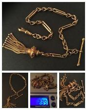 A STUNNING VICTORIAN 15CT GOLD ALBERTINA BRACELET WITH FANCY TASSLE & 'T' BAR
