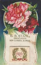 New Cambria Kansas~ED Stahl Groceries~Store Advertising~1909 Add On Calender~PC