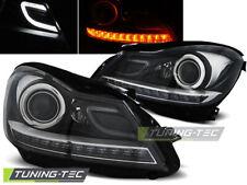 Mercedes C-Klasse W204 2011-14 LED Lightbar Scheinwerfer Schwarz + LED Blinker