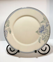 """Lenox Brentwood Dinner Plate Made In USA 10.75"""" Blue Flowers Silver Tone Trim"""