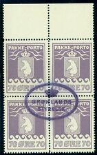 Greenland #Q7 70ore Pakke Porto, Margin Blk of 4 used Gronlund certificate