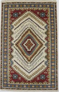 Tribal Geometric Design Ivory 5X8 Kazak Area Rug Oriental Hand Knotted Carpet