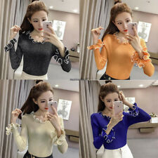 Korean Fashion Women Casual Knit Sweater Shiny Crew Neck Slim Blouse Top Blue XL