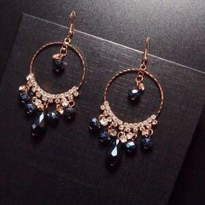 Jewelry Luxury Big Size Rhinestone Hoop Earrings Blue Crystal Fashion Women