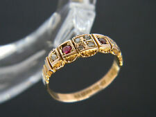 ANTIQUE/VICTORIAN! 15CT GOLD GARNET & DIAMOND RING! RING FROM CHESTER, YEAR 1899