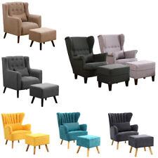 Velvet Chenille Armchair Living Room Bedroom Sofa Chair Lounge FREE Foot Stool