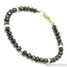 30.1ct Black  Diamond Vibrant  Beads Bracelet  14K Gold 7.00 Grams