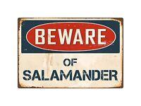 """Beware Of Salamander 8"""" x 12"""" Vintage Aluminum Retro Metal Sign VS366"""